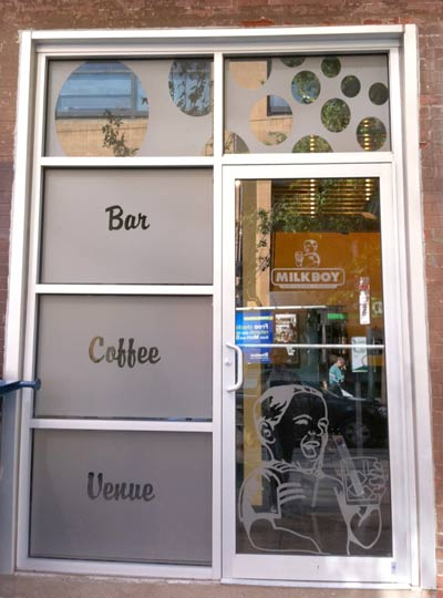 Frosted Crystal window graphics for MilkBoy's 11th & Chestnut location